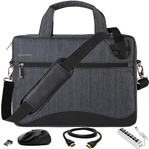 VanGoddy 17 17.3 inch Gray Anti-Theft Laptop Messenger Bag with USB Hub, Mouse, HDMI Cable for MSI Raider, Mobile Workstation, X Leopard, Apache Pro, Stealth Pro, Prestige, Dominator, Titan 17.3