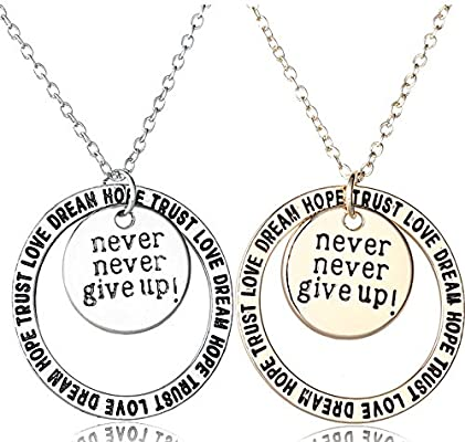 Dwcly Never GIVE UP Best Friend Engraved Inspirational Quote