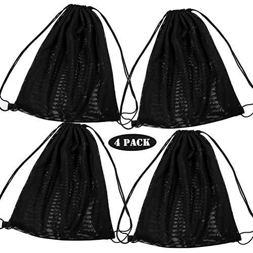Whaline 4 Pack Mesh Drawstring Backpack Bag, Black String Bag Multi Functional Mesh Equipment Bag with Drawstring Shoulder Straps for Swimming,Beach,Diving,Travel,Gym,Camping,Training (18'' x 15'')