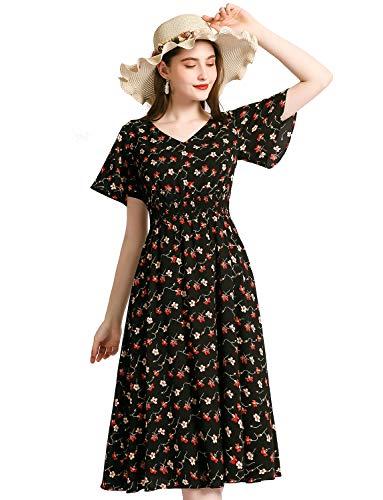 Gardenwed Floral Print Chiffon Summer Dresses for Women Flowy Midi Sundress Bohemian Beach Party Dress Black Small Floral XL
