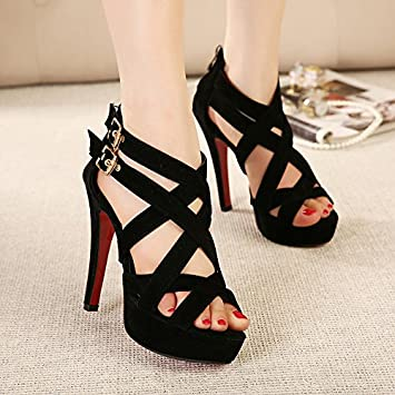 RUGAI-UE Hollowed out lady sandals with super high heel sandals
