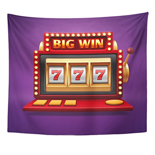TOMPOP Tapestry Colorful 777 Jackpot Slot Casino Machine One Arm Bandit for Lucky Seven in Gambling Game Prize Spin Home Decor Wall Hanging for Living Room Bedroom Dorm 50x60 Inches ()