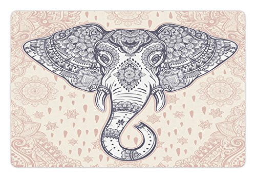 Holy Elephant (Elephant Mandala Pet Mats for Food and Water by Ambesonne, Bohemian Elephant Paisley Vintage Ethnic Design Holy Animal, Rectangle Non-Slip Rubber Mat for Dogs and Cats, Pale Pink and Purple)