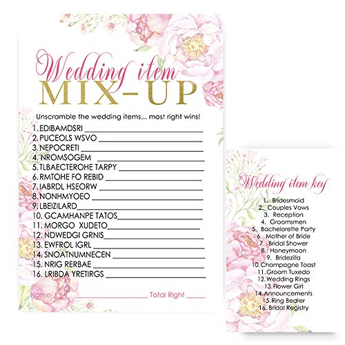 (Floral Bridal Shower Word Scramble Game - Pack of 25)