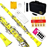Glory B Flat Clarinet with Second Barrel, 11reeds,8 Pads Cushions,case,carekit and More~ Yellow