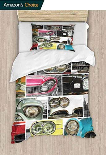 1960s Decorations DIY Quilt Cover and Pillowcase Set, Classic Cars Retro Automobile Collage Bumper and H, Bedding Set with Zipper Ties 1 Duvet Cover 1 Pillow Shams, 59 W x 78 L Inches