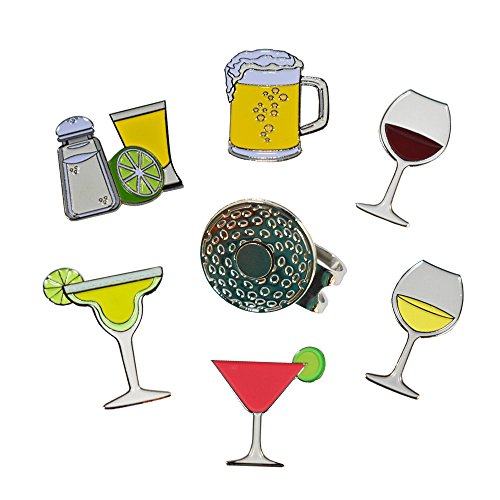 (Andoji Beer, Wine and Cocktail Golf Ball Markers 6 Pack with Magnetic Hat Clip - Great Gifts for Golfers)