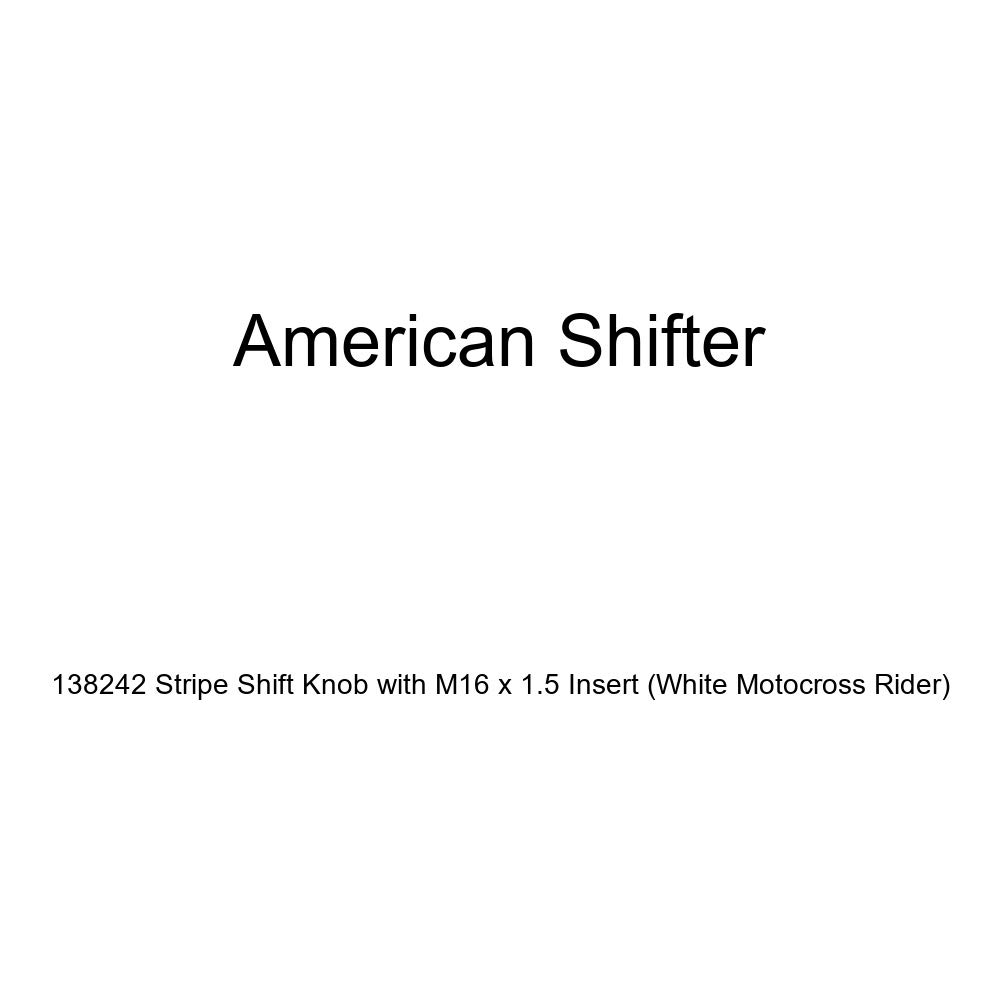 American Shifter 138242 Stripe Shift Knob with M16 x 1.5 Insert White Motocross Rider
