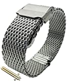 Leesting Watch Band with Polished Stainless Steel Milanese Mesh Strap Solid Silver Clasp 20mm
