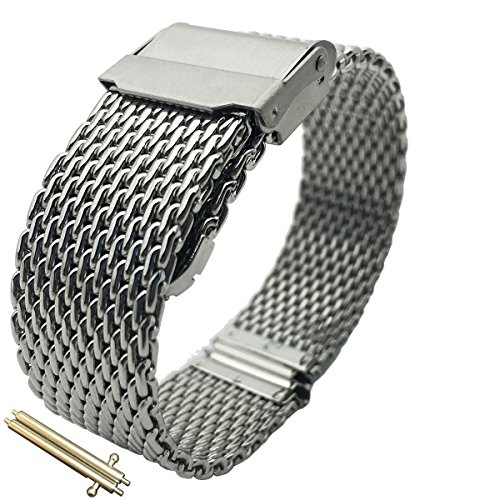 Leesting Watch Band with Polished Stainless Steel Milanese Mesh Strap Solid Silver Clasp 20mm ()