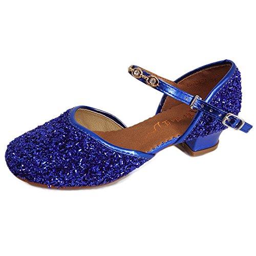 YING LAN Girls Glitter Sequins Pump Shoes Princess Dress Sandals Party Ballet Dance Shoes (Little Kid/Big Kid) Blue 32