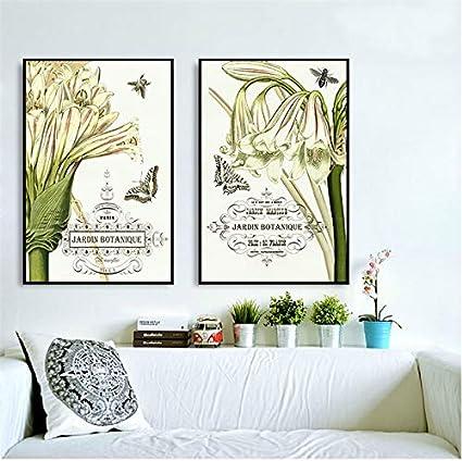 ganlanshu Lirio Blanco rústico Flor Cartel Arte combinación Mariposa Lienzo Pintura Decorativa,Pintura sin Marco,50X75cmx2