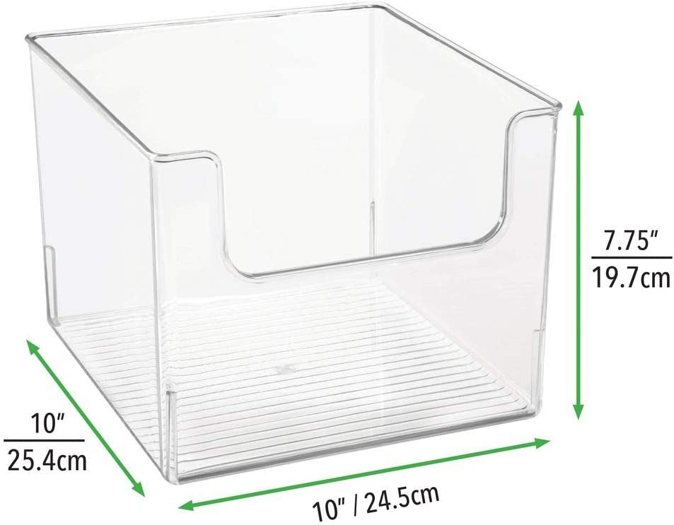 mDesign Set of 2 Household Storage Box /— Plastic Storage Cube for Household Items and Accessories /— Ideal Organiser for Bedroom Kitchen and Office /— Clear Garage