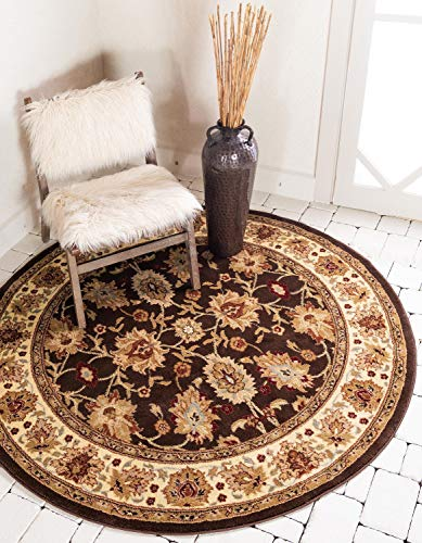 Brown Oriental Rug Round (Unique Loom Voyage Collection Traditional Oriental Classic Brown Round Rug (8' x 8'))