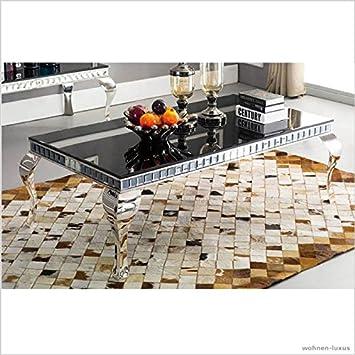 Couchtisch PLUTO Schwarzglas Schwarz Wohnzimmer Designer Luxus Tisch Bro Edelstahl Glas Barock Chrom Facettensteine Steine Kristall