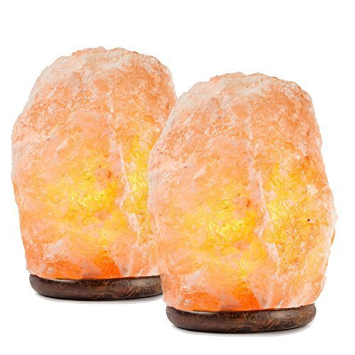 HemingWeigh set2 All Natural Himalayan Lamp-Hand Carved Himilian Hymalain Pink Salt Rock Wood Base Dimmer Control Included Perfect Mothers Day Gifts | 6-8 Inches | 6-7 Lbs (Set of 2)