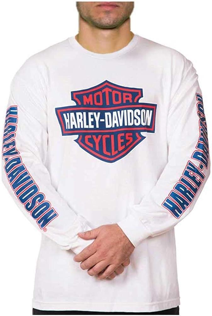 Harley-Davidson Mens Orange Bar /& Shield White T-Shirt 30290590