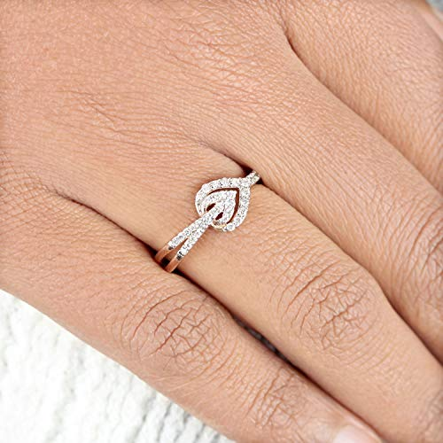 Wedding Bands Solid 14k Rose Gold Natural 0.24 Ct Pave Diamond Pear Shape Delicate Ring Fine Jewelry Women's Day Gifts