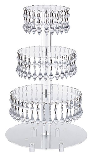 Pre-Installed Crystal Beads- 4 Tier Acrylic Cupcake Tower Stand with Hanging Crystal Bead-wedding Party Cake Tower (4 Tier With Feet) - Cake Hanging