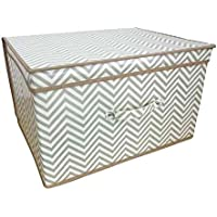 Children/Kids Chevron Design Folding Storage Chest (One Size) (White/Gray)