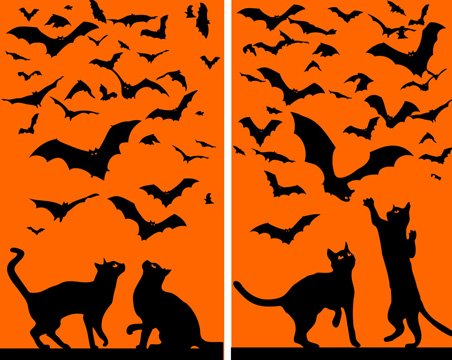 WOWindow Posters Cats & Bats Silhouettes Orange and Black Halloween Window Decoration includes two 34.5