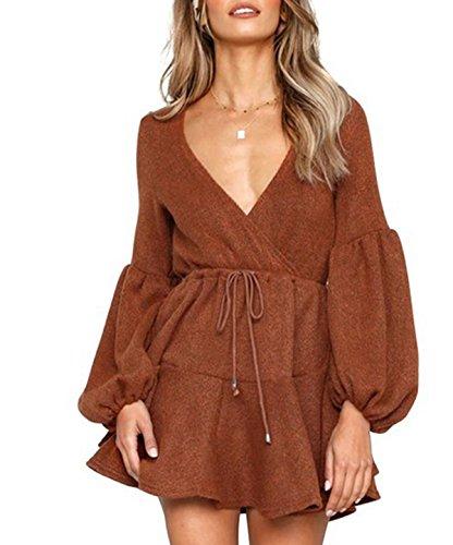 Tunic Dress Sleeve Long Dress Belt Sweater Pullover V Neck Womens Brown Bell Asskdan wqHRzz