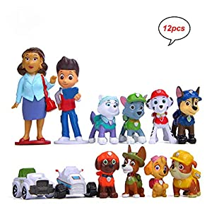 MEMOVAN Paw Dog Patrol Cake Toppers-12Pcs Paw Patrol Birthday Cake Topper Cupcake Topper, Children Mini Figurines Toy…
