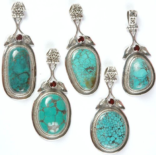 Lot of Five Spider's Web Turquoise Pendants with Garnet and Sterling Leaves - Sterling - Pendant Turquoise Spider Web