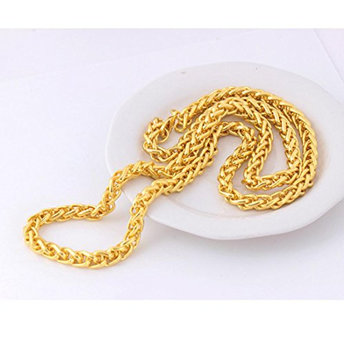 LLguz Simple Men Hip Hop Fashion Luxury Jewerly Yellow Gold Color Plated Necklace Ornament - Ornament Jewelry