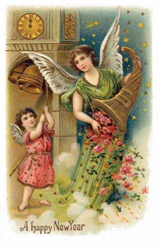 Vintage New Year's Art~Angel w Cornucopia of Roses~Cherub Ri