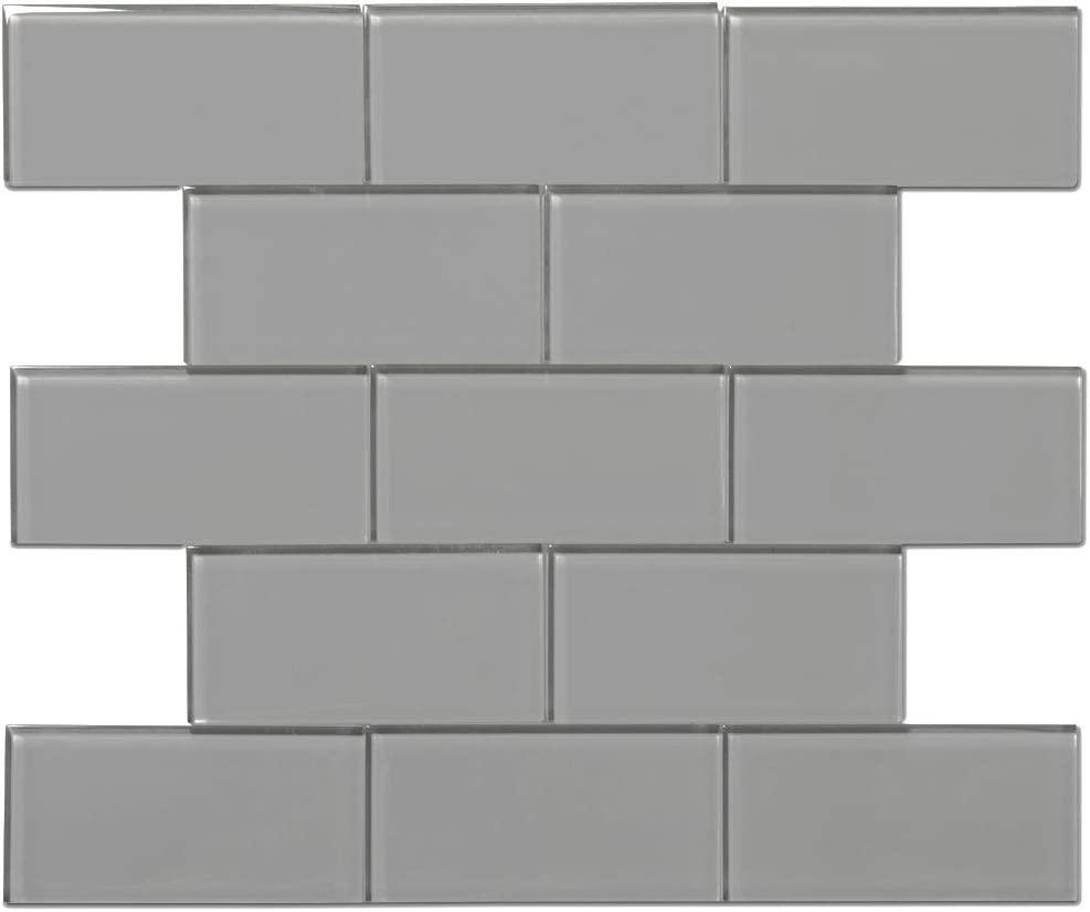 - Amazon.com: Diflart 3x6 Gray Glass Subway Tile Backsplash For