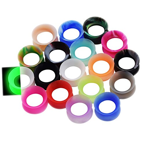 36pcs Silicone Ear Gauges Flesh Tunnels Plugs Stretchers Expander Ear Piercing Jewelry 0g(8mm) ()