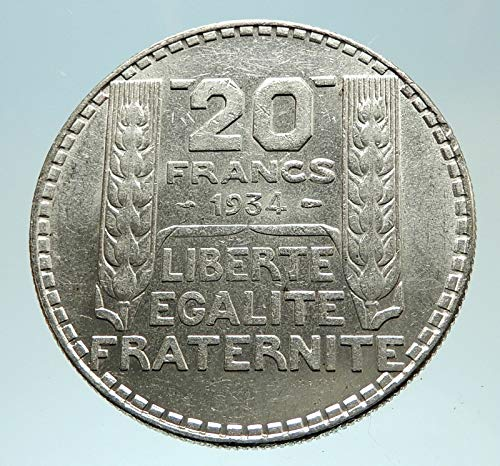 - 1934 FR 1934 FRANCE Authentic Large AR 20 Francs Vintage coin Good Uncertified