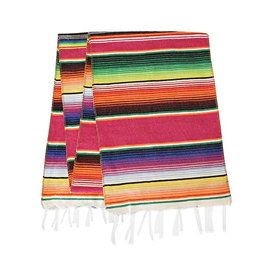 Eccbox 14 x 84 inch Mexican Serape Table Runner Mexican Party Wedding Decorations, Fringe Cotton Striped Table Runner Fiesta Decorations from Eccbox