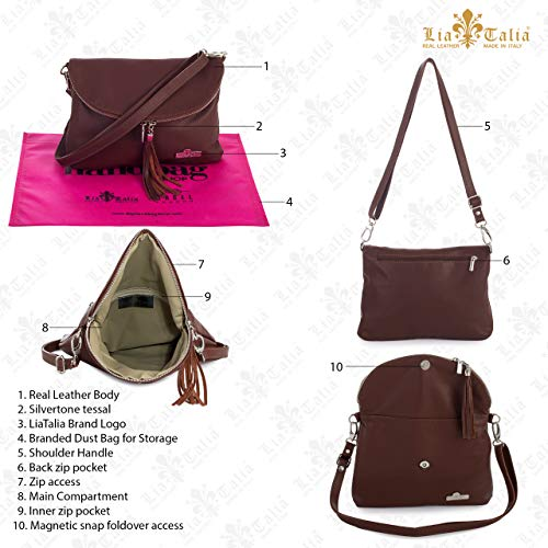 Shoulder Italian LIATALIA Size Soft Small Bag Cross AMY Medium Messenger Real Body Taupe Deep Leather 1xxq0a4