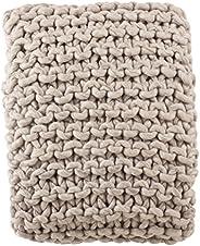 """SARO LIFESTYLE Chunky Cable Knit Premium Wool Throw Blanket, 50"""" x 60&"""