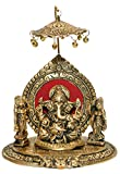 Nexplora Industries Riddhi Siddhi Chhatra Ganesh Showpiece Metal Statue,Ganesh Chatra Idol,Statue Sculpture Lucky Figurine House Warming Gift & Home Decor Congratulatory,Ultimate Gift Item,Pooja Article