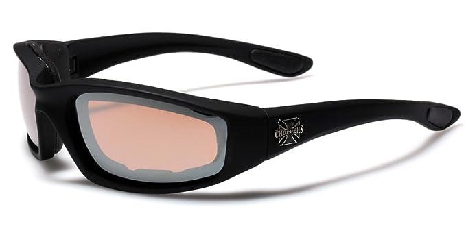 40f02fce3e2 Amazon.com  Choppers Padded Bikers Sport Sunglasses BLACK BROWN ...