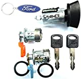 For SELECT Ford Lincoln Ignition Switch Lock Cylinder + Pair (2) Door Lock Cylinder W/2 Ford Ovar Logo Keys