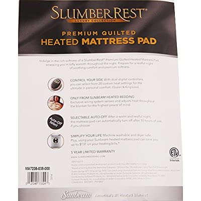 Sunbeam Premium Luxury Quilted Heated Electric Mattress Pad - Twin Size