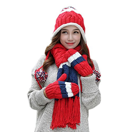 (ALLDECOR Winter Christmas Gifts 3pcs Handmade Knitted Hat Scarf Gloves Sets)
