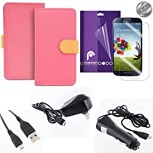 Fosmon Samsung Galaxy S4 S IV I9500 Starter Bundle - Includes: CADDY Series Leather Multipurpose Wallet Case (Pink / Orange) + 3-Pack Crystal Clear Screen Protectors + 1000 mAh Micro USB Car Charger + Micro USB Travel Charger + Micro USB Data Cable