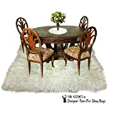 Large Area Rug - Ivory White Carpet - Soft Faux Fur Sheepskin - Rectangle Accent Rug - (5'x10')