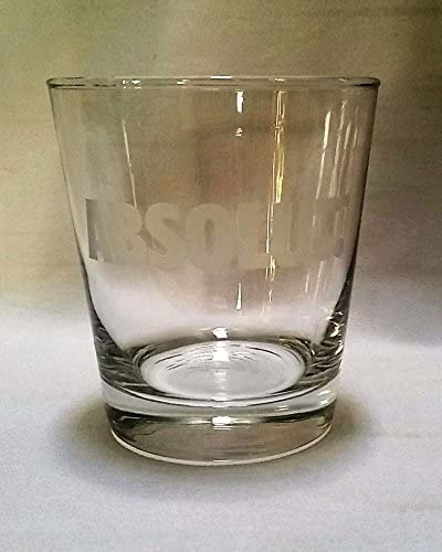Absolut Vodka Rocks Glass with Etched Logo 12 Ounces