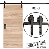 INDUSTRIAL BY DESIGN - 8ft Single Sliding Barn Door Hardware Kit - Ultra Quiet, Designers Choice, All Parts Included, Easy Installation with DIY Video Instructions