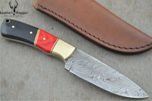 Christmas Gift By Leather-n-dagger | Professional High Quality Custom Handmade Damascus Steel Hunting Knife (100% Satisfaction Guaranteed) LD108