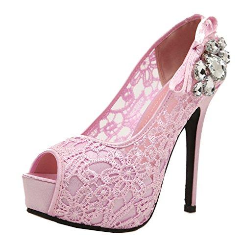 YE Damen Peep Toe Plateau Stiletto High Heel Pumps mit Spitze und Strass Modern Elegant Schuhe
