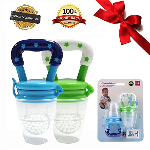 Tinabless Baby Fresh Food Feeder Teether Nibbler 2 Count with Clip for Boys L