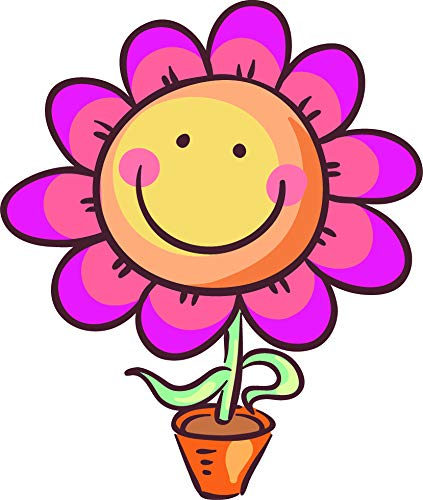 Amazon cute happy smiling nursery flower emoji cartoon art cute happy smiling nursery flower emoji cartoon art vinyl sticker 8quot tall pink mightylinksfo