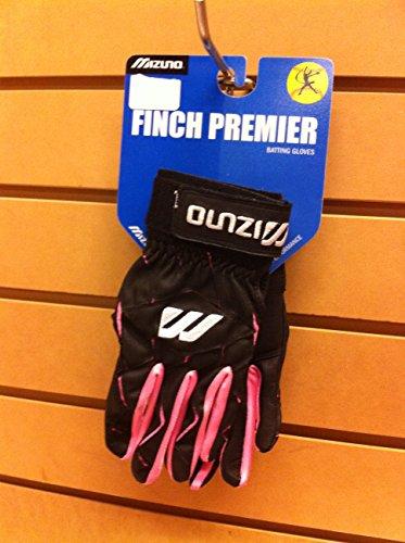 Mizuno Women's Finch Premier Batting Gloves (Black/Pink, Small) (Jennie Finch Bats)